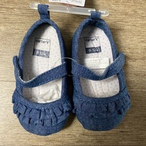 Carters Chambray Mary Jane Baby Shoes